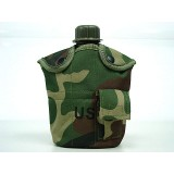 1Qt Canteen Water Bottle w/Pouch & Cup Camo Woodland